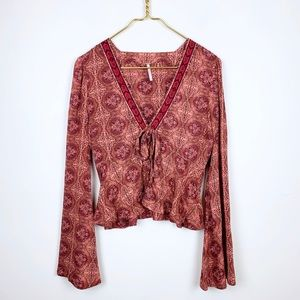 Free People Cropped Bell Sleeve Printed Blouse Top